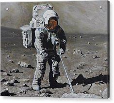The Geologist- Harrison Schmitt. Apollo 17 Acrylic Print by Simon Kregar