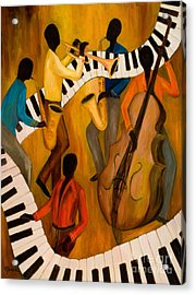 The Get-down Jazz Quintet Acrylic Print by Larry Martin