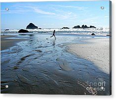 the Girl and the Ocean Acrylic Print by Dona  Dugay