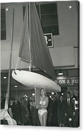 The Girl With A Boat On Her Shoulder. It Weigh Only 40 Les Acrylic Print by Retro Images Archive