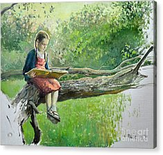 The Girl With Book Acrylic Print by Eugene Maksim