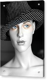 The Girl With The Fedora Hat Acrylic Print by Sophie Vigneault