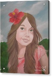 The Girl With The Red Flower II Acrylic Print by Angela Melendez