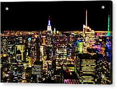 The Glow Of The New York City Skyline Acrylic Print by Dan Sproul
