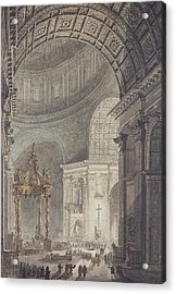 The Glowing Cross In St Peters, Rome, On Maundy Thursday Acrylic Print by Charles Norry