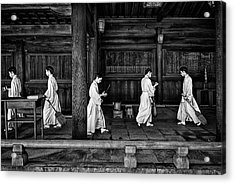 The Going And The Being Back Of A Monk In The Sweeping Of The Temple (tokio) Acrylic Print