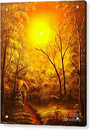 The Golden Dream-original Sold-buy Giclee Print Nr 31 Of Limited Edition Of 40 Prints  Acrylic Print by Eddie Michael Beck