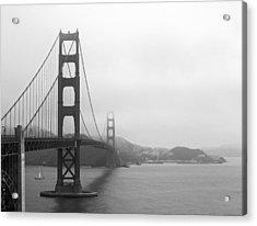 The Golden Gate Bridge In Classic B W Acrylic Print by Connie Fox