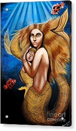 The Golden Mermaid Acrylic Print by Saranya Haridasan