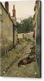 The Gossips Acrylic Print by Walter Langley