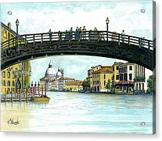 Acrylic Print featuring the painting The Grand Canal Venice Italy by Albert Puskaric