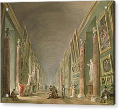 The Grand Gallery Of The Louvre Between 1801 And 1805 Oil On Canvas Acrylic Print