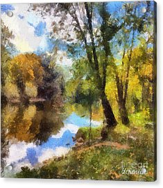 The Grand River In Autumn Acrylic Print by J S
