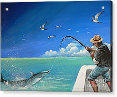 Acrylic Print featuring the painting The Great Catch 1 by Sgn