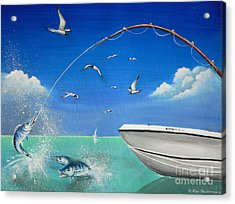 Acrylic Print featuring the painting The Great Catch 2 by S G