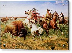 The Great Royal Buffalo Hunt Acrylic Print by Louis Maurer