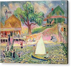 The Green Beach Cottage Acrylic Print by William James Glackens