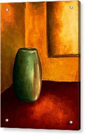 The Green Urn Acrylic Print by Brenda Bryant
