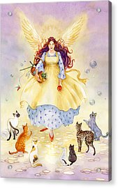 The Guardian Angel Of Cats Acrylic Print by Janet Chui