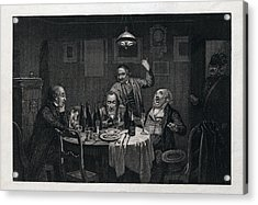The Guests, 1864, Food And Drink, Table, Bottle, Bottles Acrylic Print by English School