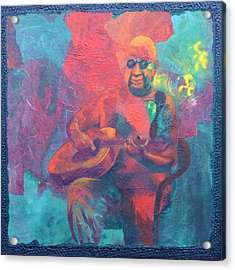 Acrylic Print featuring the painting The Guitar Player by Nancy Jolley