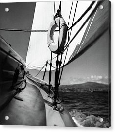 The Gunwale Of A Sailboat Acrylic Print