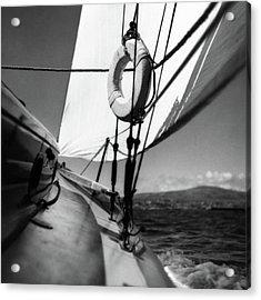 The Gunwale Of A Sailboat Acrylic Print