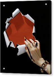 The Hand Of A Woman Reaching Towards Torn Acrylic Print
