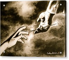 Acrylic Print featuring the drawing The Hand Of God by Carla Carson