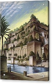 The Hanging Gardens Of Babylon Colour Litho Acrylic Print by English School