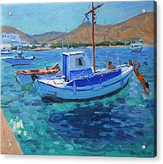 The Harbor  Tinos Acrylic Print by Andrew Macara