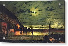 The Harbour Flare Acrylic Print by John Atkinson Grimshaw