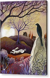 The Hare And Crow Acrylic Print by Amanda Clark