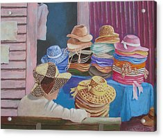 Acrylic Print featuring the painting The Hat Buyer by Tony Caviston