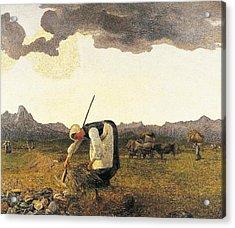 The Hay Harvest  Acrylic Print by Giovanni Segantini