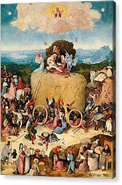 The Hay Wagon - Central Panel Acrylic Print by Hieronymus Bosch