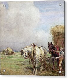 The Hay Wagon Acrylic Print by Nathaniel Hughes John Baird