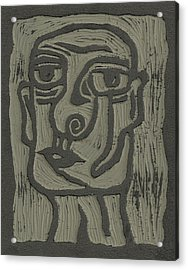 The Head Linoleum Block Carving Acrylic Print by Shawn Vincelette