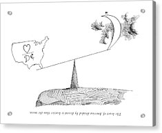 The Heart Of America Divided By Dissent Acrylic Print by Saul Steinberg