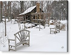 The Historic Gosnell Log Cabin After A Snowfall  Mauldin Sc Acrylic Print