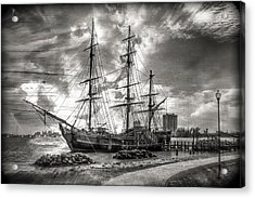 The Hms Bounty In Black And White Acrylic Print by Debra and Dave Vanderlaan