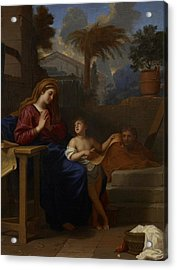 The Holy Family In Egypt Acrylic Print by Charles Le Brun