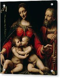 The Holy Family With The Infant St. John Acrylic Print by Bernardino Luini