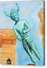 The Horned God From Egkomi .  Acrylic Print by Augusta Stylianou