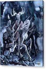 Acrylic Print featuring the painting The Horned King 2 by Curtiss Shaffer