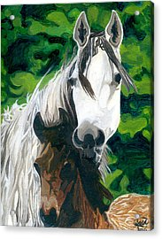 Acrylic Print featuring the painting The Horse And Her Foal by Saad Hasnain