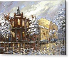 Acrylic Print featuring the painting The House 44 Or Silver Night by Dmitry Spiros