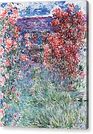 The House At Giverny Under The Roses Acrylic Print by Claude Monet