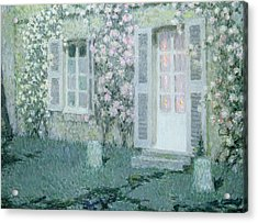 The House With Roses Acrylic Print by Henri Eugene Augustin Le Sidaner