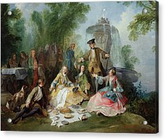 The Hunting Party Meal, C. 1737 Oil On Canvas Acrylic Print